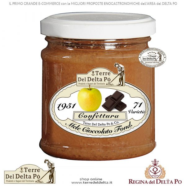 Confettura Mele e Cioccolato Fondente -Terre del Delta Po - Prodotto Artigianale Tipico Genuino Italiano