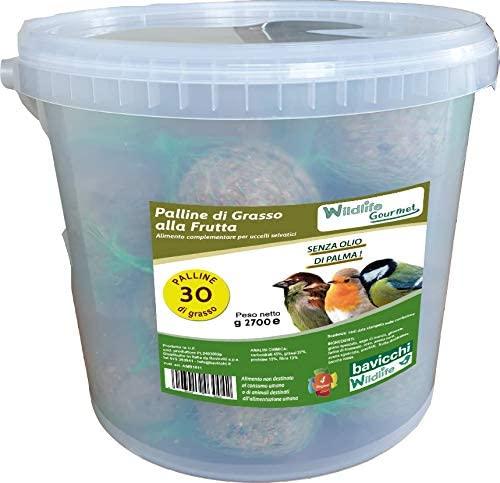 Palle di Grasso Gourmet - Secchio 30 pezzi alla Frutta Mista - birdgarden.it