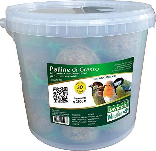 Palle di Grasso Gourmet - Secchio 30 pezzi agli Insetti - birdgarden.it