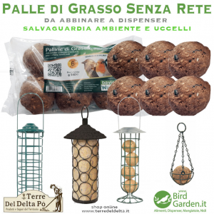 palle e dispenser senza rete www.birdgarden.it